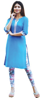 i-bought party Wear Blue Rayon lycra Kurti leggings Set  IB-112