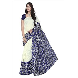 Fabwomen White Bhagalpuri Silk Floral Saree With Blouse