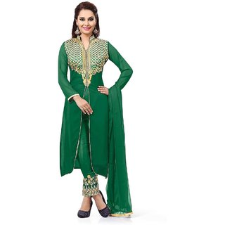 Kesu Fashion Women's Embroidered Un-stitched Salwar Suits / Dress Materials (Georgette FabricGreen ColorZHMS1002)
