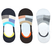 DDH Men Solid No Show Socks With Silicone Heel Grip Pac