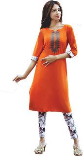 i-bought party Wear Orange Rayon lycra Kurti leggings Set  IB-110