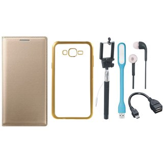 Samsung J5 Prime SM-G570F Premium Leather Finish Flip Cover with Free Silicon Back Cover, Selfie Stick, Earphones, OTG Cable and USB LED Light