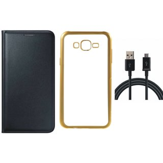 Leather Finish Flip Cover for Lenovo Vibe K5 Plus with Free Silicon Back Cover and Free USB Cable