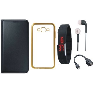 Lenovo Vibe K5 Plus Leather Finish Cover with Free Silicon Back Cover, Digital Watch, Earphones and OTG Cable