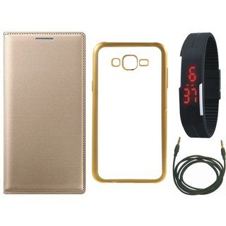 Lenovo Vibe K5 Plus Leather Finish Cover with Free Silicon Back Cover, Digital Watch and AUX Cable