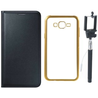 Leather Finish Flip Cover for Lenovo Vibe K5 Plus with Free Silicon Back Cover and Free Selfie Stick