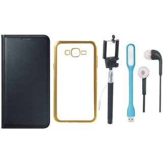 Samsung J5 Prime SM-G570F Flip Cover with Free Silicon Back Cover, Selfie Stick, Earphones and USB LED Light