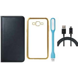 Leather Finish Flip Cover for Lenovo Vibe K5 Plus with Free Silicon Back Cover, free USB LED Light and Free USB Cable