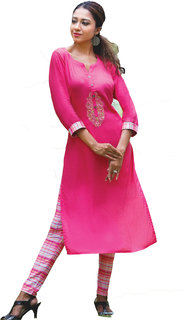i-bought party Wear Pink  Rayon lycra Kurti leggings Set  IB-84