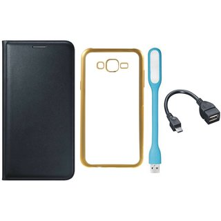 Leather Finish Flip Cover for Lenovo Vibe K5 with Free Silicon Back Cover, free USB LED Light and Free OTG Cable