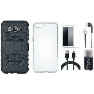 Nokia 6 Shockproof Kick Stand Defender Back Cover with Memory Card Reader, Silicon Back Cover, Earphones, Tempered Glass and USB Cable