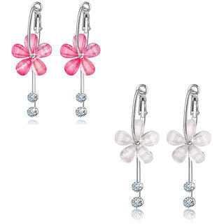 Jewels Galaxy Crystal Elements Limited Edition Sparkling Pink  White Splendid Floral Drop Earrings For Women/Girls - Co