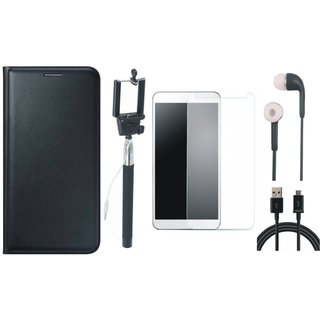 Premium Quality Leather Finish Flip Cover for Lenovo Vibe K5 with Free Selfie Stick, Tempered Glass, Earphones and USB Cable