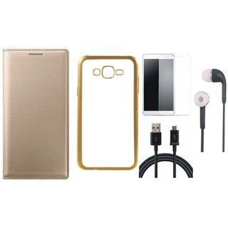 Leather Finish Flip Cover for Lenovo Vibe K5 Plus with Free Silicon Back Cover, free Earphones, free Tempered Glass and Free USB Cable