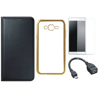 Leather Finish Flip Cover for Lenovo A6600 Plus with Free Silicon Back Cover, free Tempered Glass and Free OTG Cable
