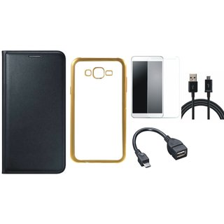 Lenovo A6600 Premium Leather Finish Flip Cover with Free Silicon Back Cover, Tempered Glass, OTG Cable and USB Cable