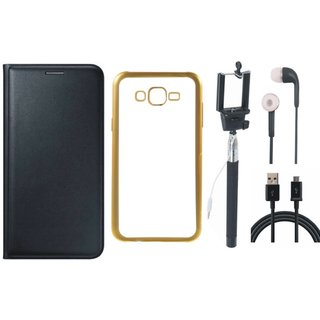 Premium Quality Leather Finish Flip Cover for Lenovo A6600 Plus with Free Silicon Back Cover, Selfie Stick, Earphones and USB Cable