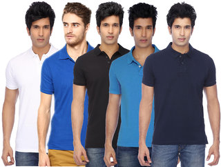 K-TEX Mens Multicolor Cotton Blend Gyming Tshirt Pack of 5