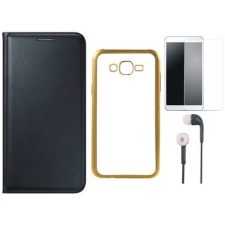 Lenovo A7700 Leather Finish Cover with Free Silicon Back Cover, Earphones and Tempered Glass