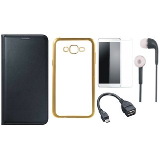 Lenovo A7700 Leather Finish Cover with Free Silicon Back Cover, Tempered Glass, Earphones and OTG Cable