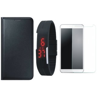 Lenovo A7700 Flip Cover with Free Digital LED Watch and Tempered Glass