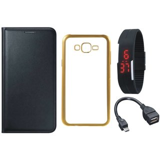 Lenovo Vibe K5 Flip Cover with Free Silicon Back Cover, Digital Watch and OTG Cable