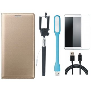 Lenovo A7700 Premium Leather Finish Flip Cover with Free Selfie Stick, Tempered Glass, LED Light and USB Cable