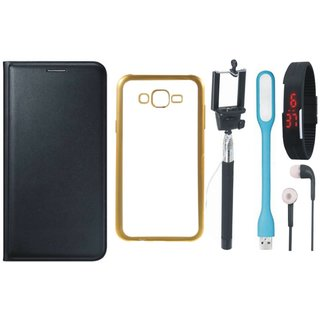Lenovo A7700 Leather Finish Cover with Free Silicon Back Cover, Selfie Stick, Digtal Watch, Earphones and USB LED Light