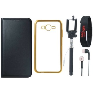 Lenovo A7700 Premium Leather Finish Flip Cover with Free Silicon Back Cover, Selfie Stick, Digtal Watch and Earphones