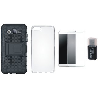 Nokia 6 Defender Back Cover with Kick Stand with Memory Card Reader, Silicon Back Cover, Tempered Glass