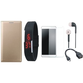 Premium Quality Leather Finish Flip Cover for Lenovo Vibe K5 Plus with Free Digital LED Watch, Tempered Glass, Earphones and OTG Cable