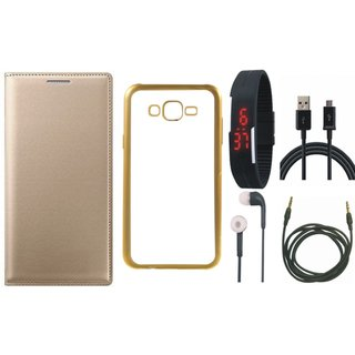 Leather Finish Flip Cover for Lenovo Vibe K5 with Free Silicon Back Cover, free Digital Watch, free Earphones, free USB Cable and Free AUX Cable