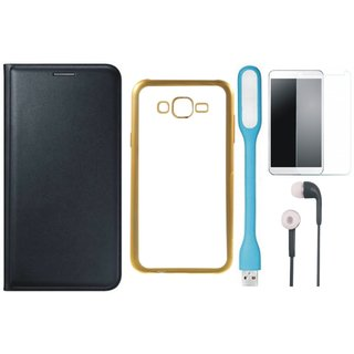 Premium Quality Leather Finish Flip Cover for Lenovo Vibe K5 Plus with Free Silicon Back Cover, Tempered Glass, Earphones and USB LED Light