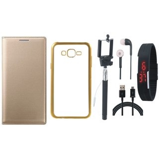 Leather Finish Flip Cover for Lenovo Vibe K5 with Free Silicon Back Cover, free Selfie Stick, free Digtal Watch, free Earphones and Free USB Cable