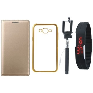 Leather Finish Flip Cover for Lenovo Vibe K5 with Free Silicon Back Cover, free Selfie Stick and Free Digtal Watch
