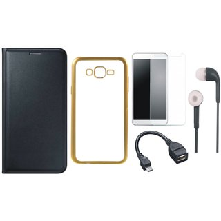 Premium Quality Leather Finish Flip Cover for Lenovo Vibe K5 Plus with Free Silicon Back Cover, Tempered Glass, Earphones and OTG Cable