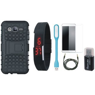 Nokia 8 Shockproof Tough Armour Defender Case with Memory Card Reader, Free Digital LED Watch, Tempered Glass, LED Light and AUX Cable