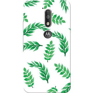 Moto G4 Plus, Moto G4 Case, Green Leafs White Slim Fit Hard Case Cover/Back Cover for Moto G4 Plus/Motorola Moto G4/Moto G Plus 4th Gen/Moto G 4th Gen