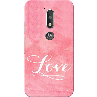 Moto G4 Plus, Moto G4 Case, White Love with Pink Slim Fit Hard Case Cover/Back Cover for Moto G4 Plus/Motorola Moto G4/Moto G Plus 4th Gen/Moto G 4th Gen