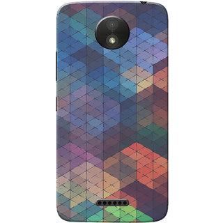 Moto C Plus Case, Blue Orange Triangle Slim Fit Hard Case Cover/Back Cover for Motorola Moto C Plus