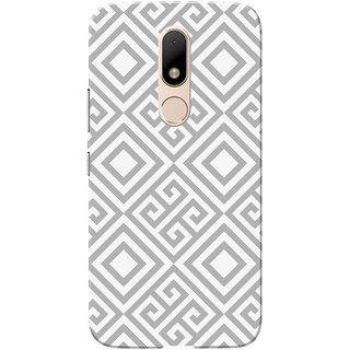 Moto M Case, Grey Square Pattern White Slim Fit Hard Case Cover/Back Cover for Motorola Moto M
