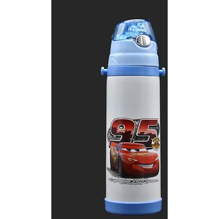 Stainless Steel Vacuum Flask Straw Sipper for Kids, White/Blue, 500ml - Cars (Assorted Print)