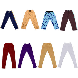 IndiWeaves Girls Combo Pack(Pack of 2 Solid and 2 Printed Lower/Tarck Pants With 4 Cotton Leggings)_Multicolor_2-3 Years_3600913223071400010203-IW-G-P8-22