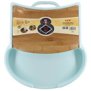 Chop and Drop Chopping Board with Bamboo & Plastic (Size) Tomato Shape - Light Blue Color