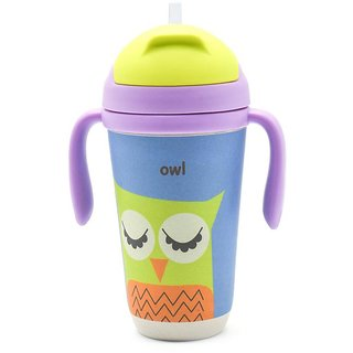 Eco Friendly Bamboo Fiber Kids Straw Sipper Owl Printed - 350ml (12oz)