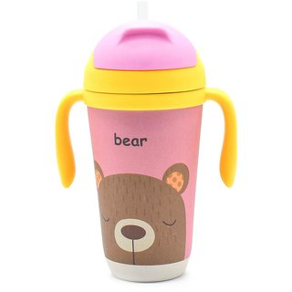 Eco Friendly Bamboo Fiber Kids Straw Sipper Bear Printed - 350ml (12oz)