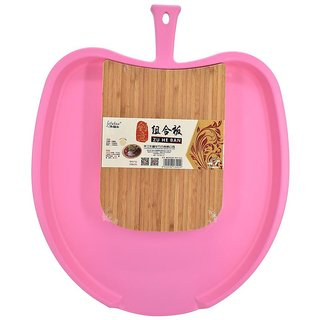Chop and Drop Chopping Board with Bamboo & Plastic (Size) Mango Shape - Dark Pink