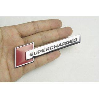 DY 3D badge Supercharged Audi Silver Rear Emblem Car Decal Logo Sticker  Chrome