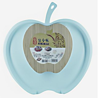 Chop and Drop Chopping Board with Bamboo & Plastic (Size) Apple Shape - Light Blue Color