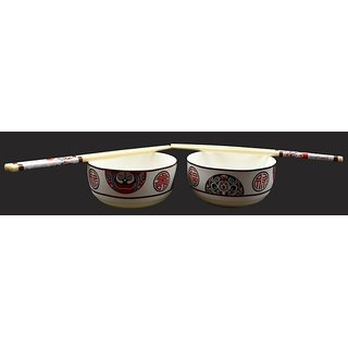 Chinese Bowl Sets with Chopsticks - Set of 2 - Round Print